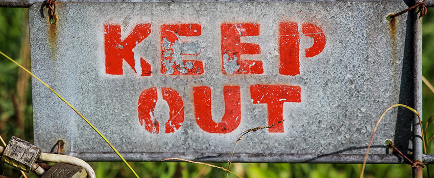 Keep out sign. Why Facebook blocked cannabis content and cannabis pages.