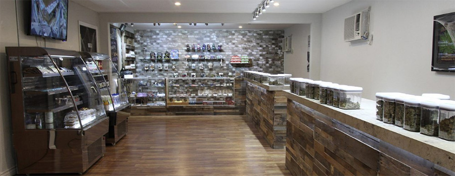 Interior of high end dispensary. Medical marijuana dispensary marketing plan. Dispensary marketing ideas. Tips for marketing weed.