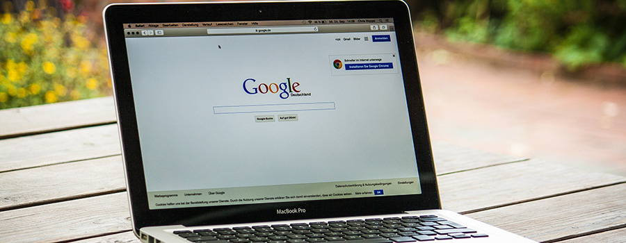 Laptop screen showing Google search page. Medical Marijuana marketing agency. SEO for marijuana companies and dispensaries.