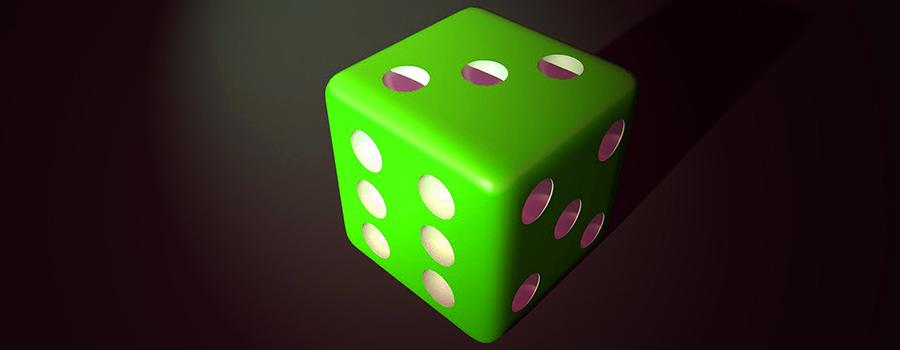 Green dice on black table. Cannabis marketing agency. Social media for dispensaries. Dispensary SEO. Dispensary marketing agency Cola Digital. ColaDigital.ca.