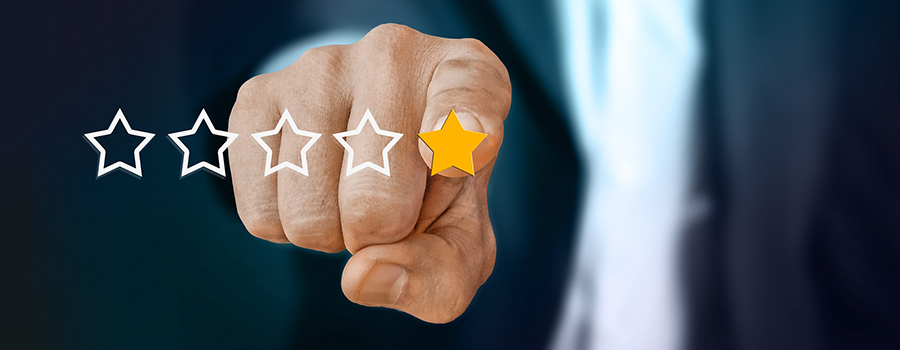 Man pointing to a 5-star customer review stars. Dispensary marketing agency. Dispensary marketing plan. Cannabis retail store marketing plan. Cola Digital Cannabis Marketing. ColaDigital.ca.