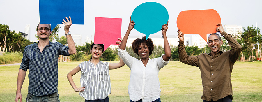4 happy cannabis store customers holding speech bubbles above their heads and smiling. Dispensary marketing agency. Cannabis social media management and marketing company. Cola Digital Cannabis Marketing Canada and USA. ColaDigital.ca. Dispensary SEO.