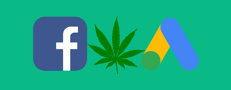 Facebook Logo, Cannabis Leaf, Google Ads Logo side by side on a green background. Cannabis advertising on Facebook. Can dispensaries advertise on Facebook? Social media advertising tips for cannabis retail stores.