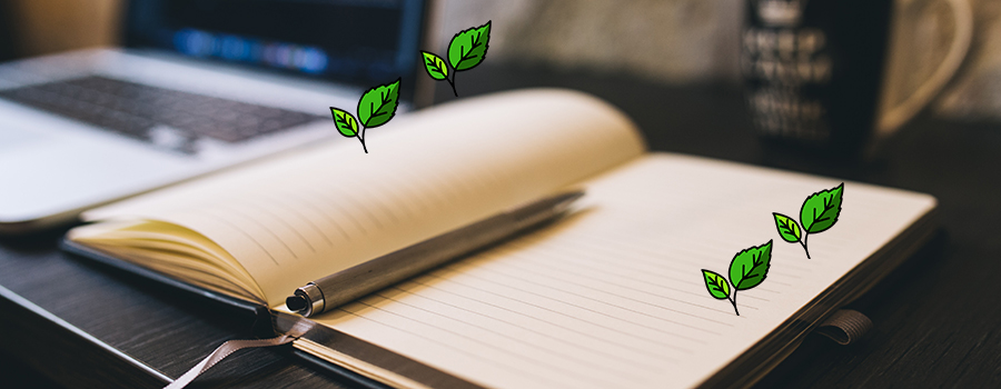 Open book with a pen resting on top of pages. Social media marketing tips for cannabis retail stores. Cannabis social media regulations in Canada. Cola Digital Cannabis Marketing Agency.