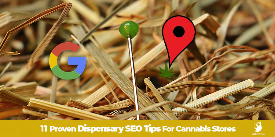 A needle with green top in a haystack. Dispensary SEO Tips. Dispensary SEO Strategy from Cola Digital Cannabis Marketing Agency Canada and USA. ColaDigital.ca.
