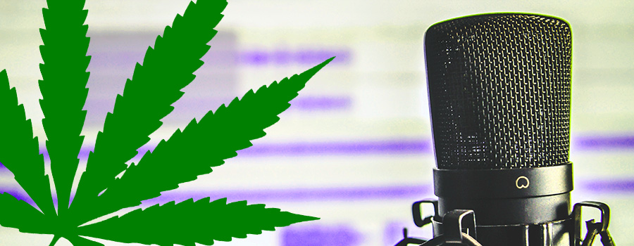 Marijuana leaf next to a cannabis podcast microphone. Hot to advertise CBD online. Advertise CBD on Google. How to sell CBD oil online. CBD marketing agency.