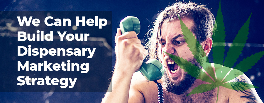 Shirtless angry man yelling into a old dial phone. Dispensary marketing ideas, tips, and strategies from Dispensary marketing agency ColaDigital.ca.