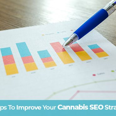 Pen pointing at an ascending graph showing the success of a cannabis SEO strategy. Dispensary SEO marketing tips. Cannabis SEO agency USA Canada.