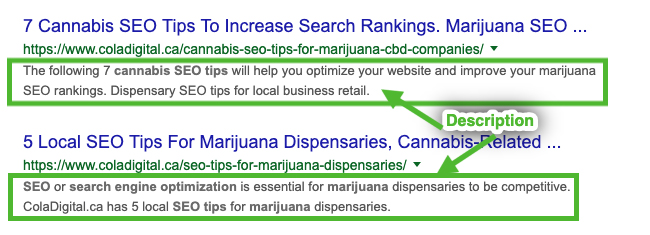 Second example of search results listings showing the meta description. Cannabis SEO tips to improve your marijuana SEO strategy. SEO for dispensaries. Dispensary SEO ideas.