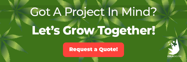 Request a Cannabis SEO Quote banner. Dispensary SEO pricing. Dispensary SEO Agency. Marijuana SEO company.