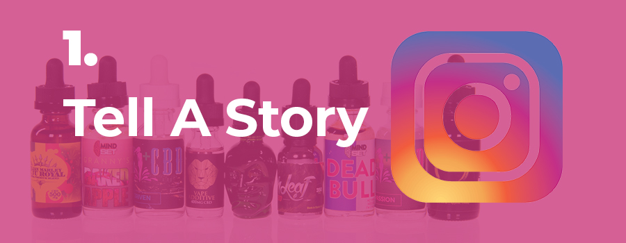 Image of CBD oil products. Instagram dispensary marketing tips. Tell a Story in your IG Stories. Social media marketing for dispensaries. Cannabis marketing agency.