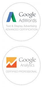 Google Analytics and Google Ads Certified Badges.