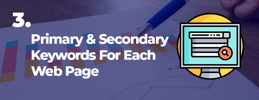 Dispensary SEO tip 3. Use primary and secondary keywords on each page. SEO ideas for cannabis marketing. Cannabis SEO.