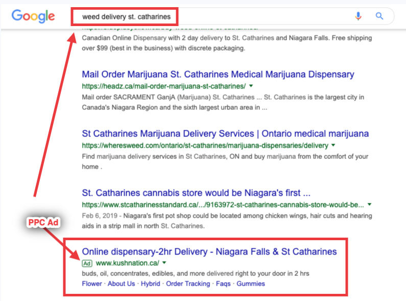 """Google search results for """"buy ween st catharines"""" search. Advertising marijuana and cannabis on Google example."""