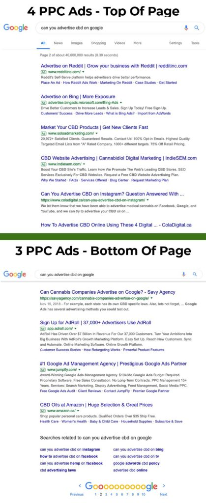 Examples of real CBD ads on Google search. Can you advertise CBD on Google? Yes, I think so. CBD Google marketing agency.