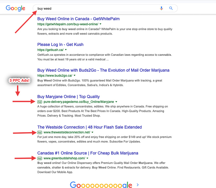 Google search results for buy weed.