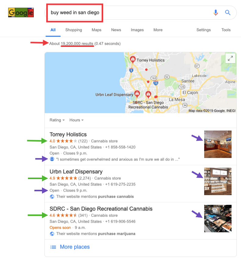 """Google Local search result for """"buy weed in san diego"""". Local SEO as a cannabis marketing service. Cannabis marketing agency ColaDigital.ca."""