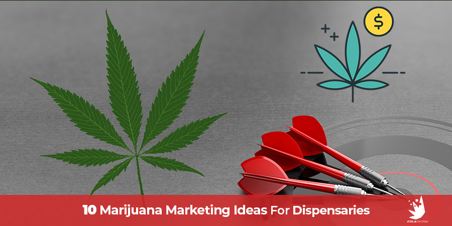 Marijuana leaf and 3 darts in the center of a target. Marijuana marketing ideas for dispensaries. Retail cannabis stores and online mail or marijuana dispensaries.
