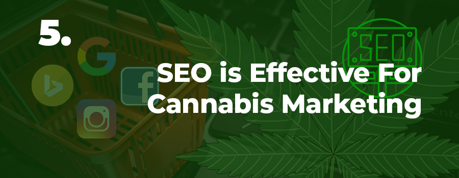 SEo is an effective cannabis marketing service to outsource in order to increase organic traffic to your dispensary website or retail store. Cannabis marketing agency ColaDigital.ca.