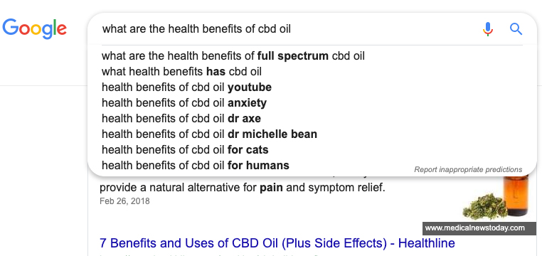 """Google suggest screenshot for the search query """"what are the health benefits of cbd oil"""". Effective cannabis marketing services from a cannabis marketing agency - ColaDigital.ca."""