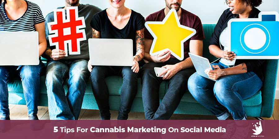 People holding social media concepts. Cannabis marketing on social media. Tips for social media marketing for dispensaries and cannabis companies. Cannabis marketing agency.