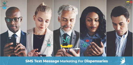 Adult professionals texting on their smartphones. SMS text messaging for dispensaries. text message marketing for marijuana dispensaries. Dispensary marketing agency.