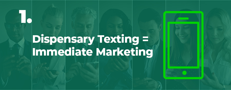 People texting in background. dispensary texting strategy. dispensary text marketing strategy. dispensary marketing company.