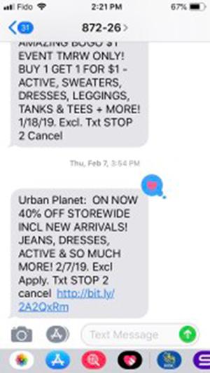 Urban Planet SMS Text Message screenshot.