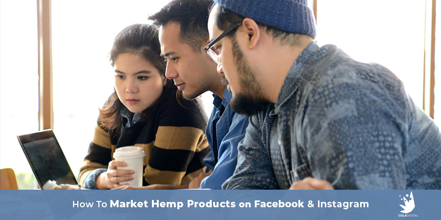 Young professionals looking at one computer screen at a desk. Can you advertise hemp on Facebook. How to market and promote hemp on Instagram.