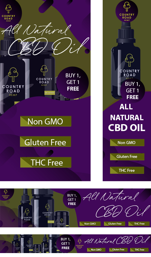 CBD display ads examples for Mantis Ad Network. Coladigital.ca CBD native and display advertising services for cannabis companies.