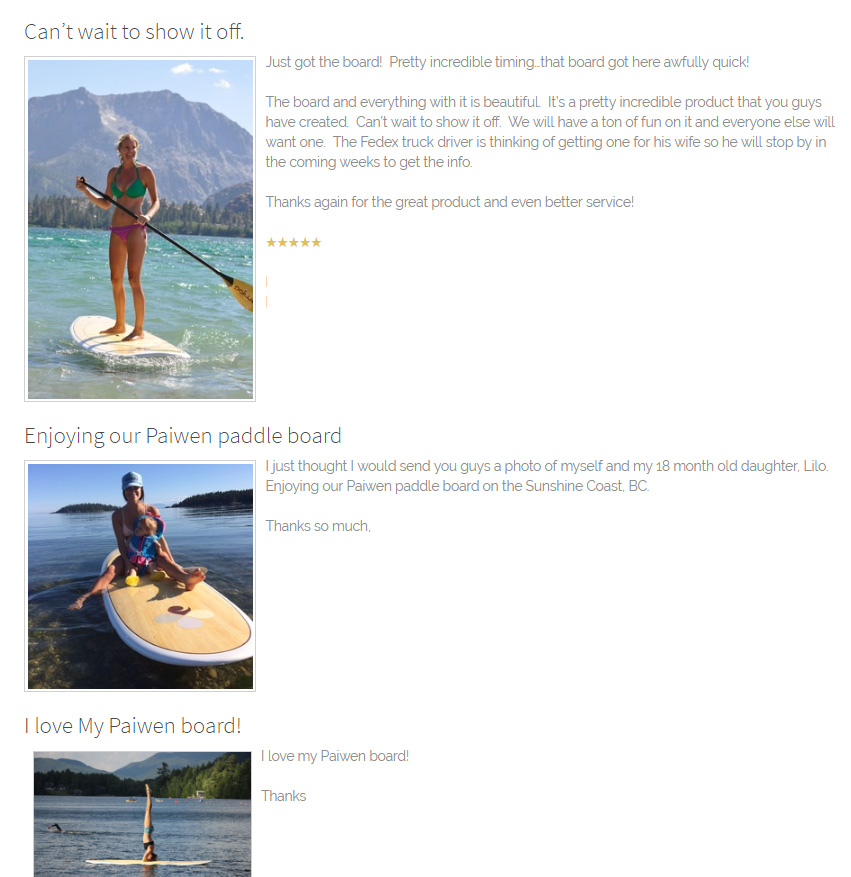 screenshot of user generated reviews on the Paiwan paddleboards website.
