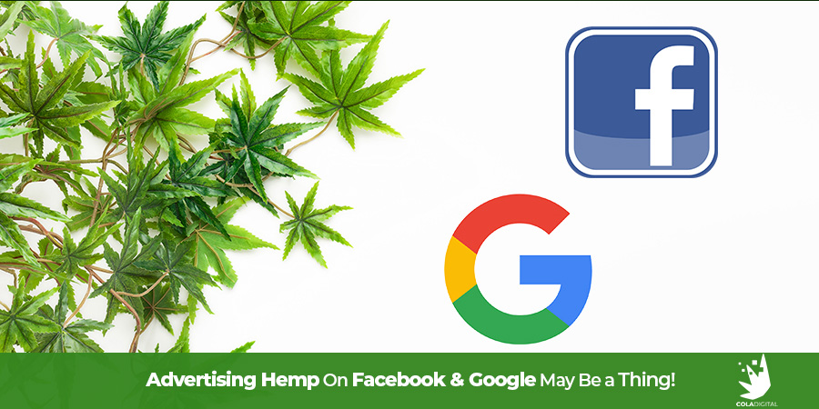Hemp leaves an dplant on left with Google & Facebook logos on right of image. Advertising hemp online on Google and Facebook. Advertising hemp products on Facebook. Hemp marketing agency. Hemp website development and SEO.