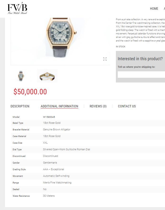 screenshot from the fine watch bank website.