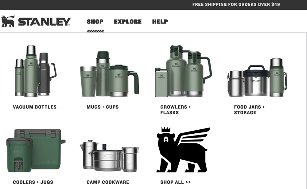 Screenshot of effective visual navigation on the website for Stanley.