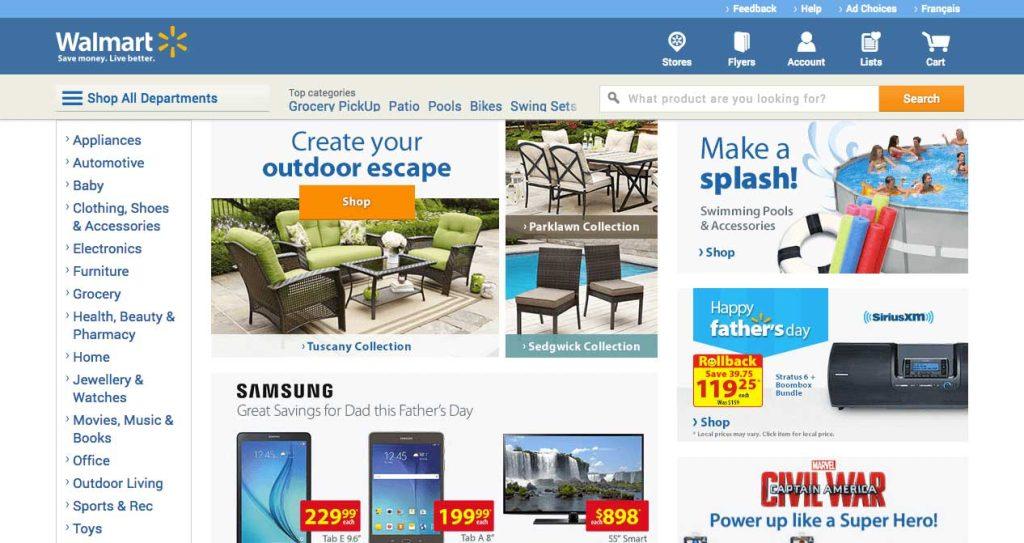 Screenshot of Walmart e-commerce store on desktop.