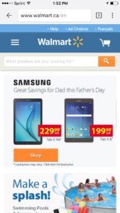 Screenshot of Walmart e-commerce store on mobile.