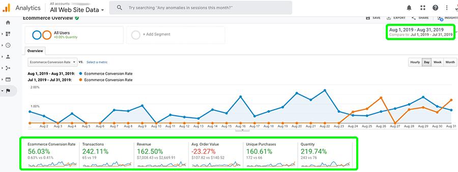 Screenshot for Google Analytics showing CBD advertising on Google Ads. CBD marketing and advertising agency.