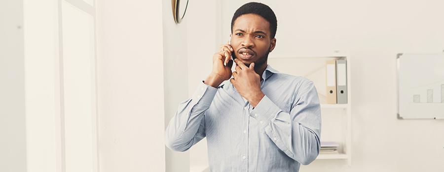 Businessman phone talking on phone. cbd marketing company. CBD seo agency. Google ads for cbd companies.