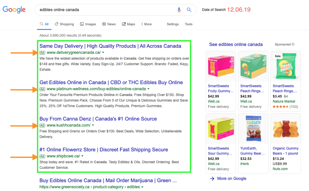 screenshots of google search ads for marijuana edibles online.