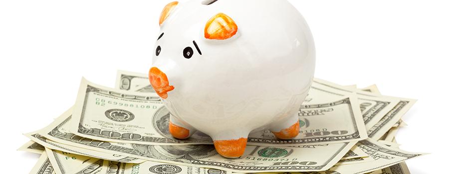 piggy bank on dollars. marijuana edibles marketing ideas. Cannabis marketing agency.