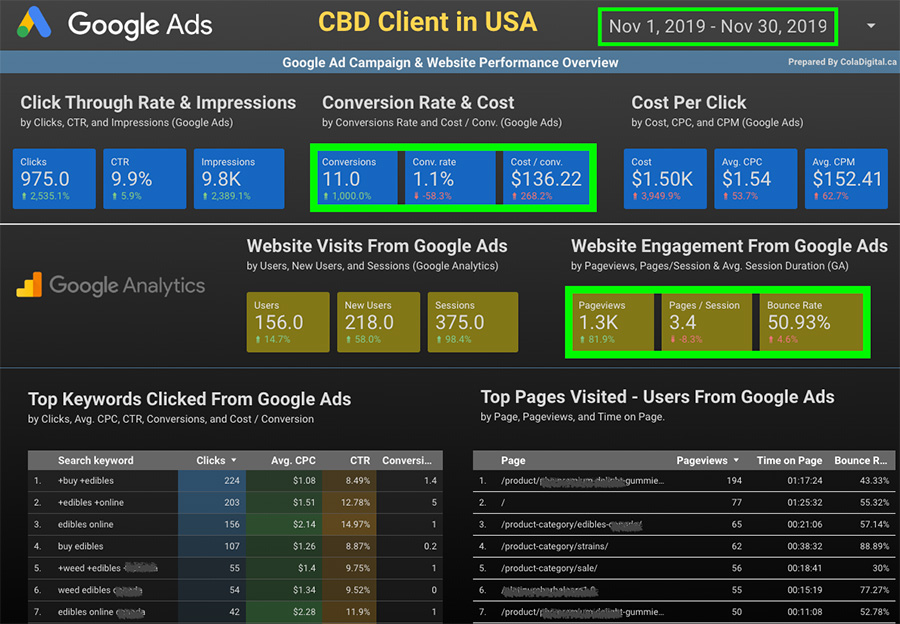 Google Ads & Google Analytics data for a CBD Google Ads Campaign in the USA. CBD advertising and marketing company.