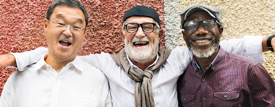 group of senior men smiling. cannabis seo agency. dispensary marketing company.
