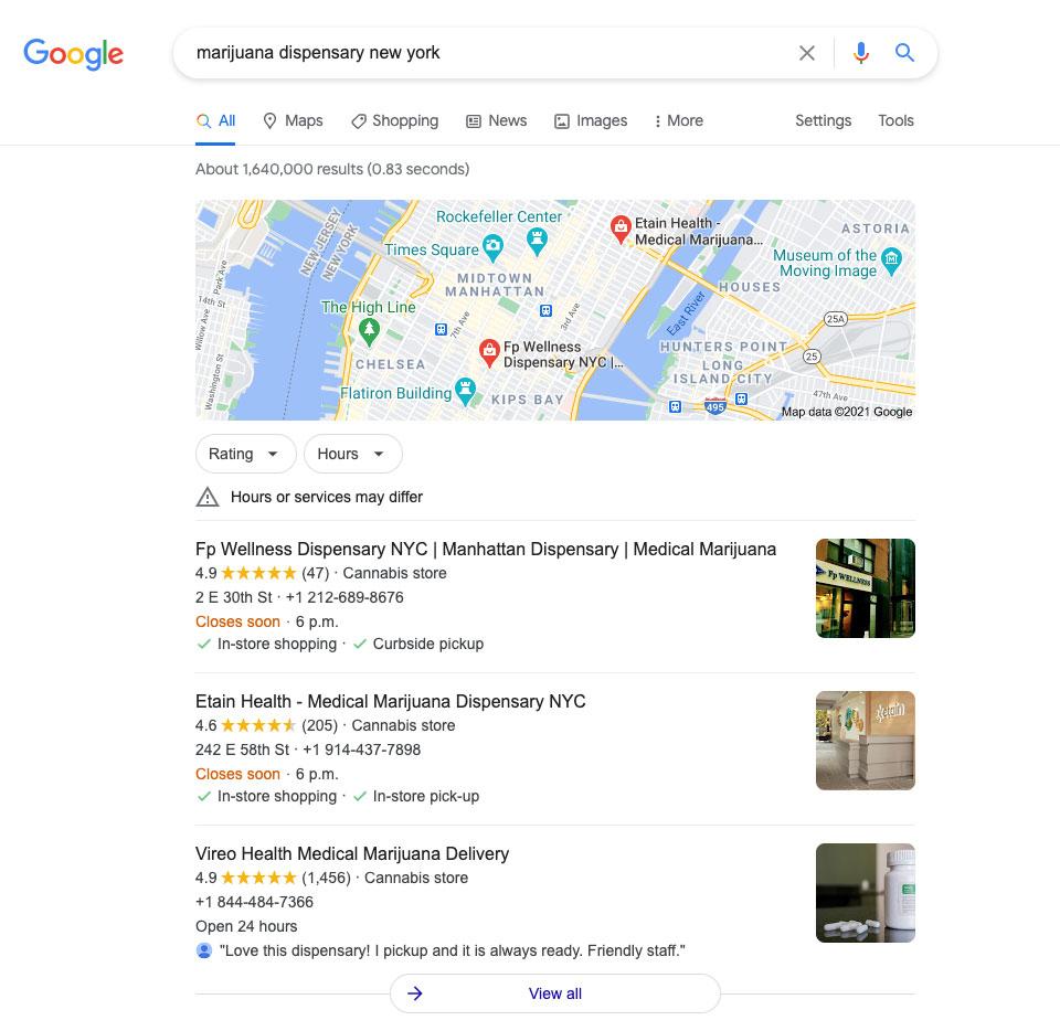 Local search results for marijuana dispensaries. SEO for cannabis companies.