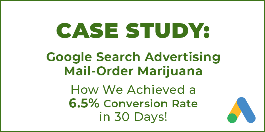 Case Study Image for Google Ads campaign for mail order marijuana companies in USA and Canada.
