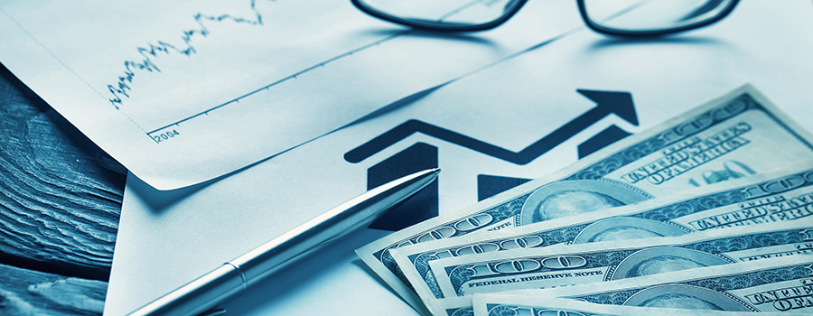 image of business items and cash. google advertising case study for marijuana dispensary marketing.